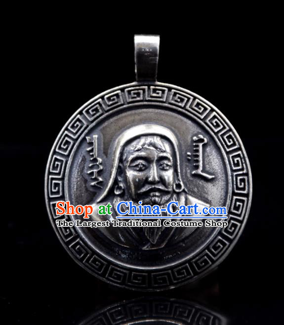 Chinese Traditional Mongolian Ethnic Jewelry Accessories Handmade Mongol Nationality Carving Genghis Khan Necklace Pendant for Women