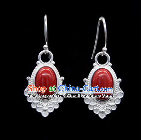 Chinese Traditional Tibetan Ethnic Ear Accessories Zang Nationality Handmade Red Stone Earrings for Women