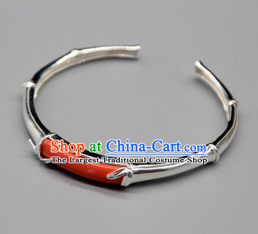 Chinese Traditional Tibetan Ethnic Coral Stone Bracelet Accessories Handmade Zang Nationality Sliver Bangle for Women
