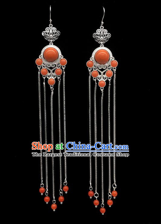 Chinese Traditional Mongolian Ethnic Sliver Accessories Mongol Nationality Coral Stone Earrings for Women