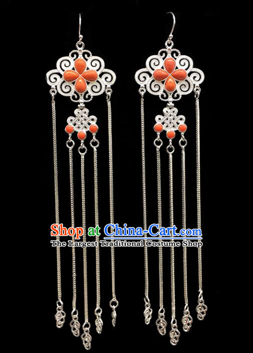 Traditional Chinese Mongolian Ethnic Sliver Tassel Earring Mongol Nationality Coral Stone Ear Accessories for Women