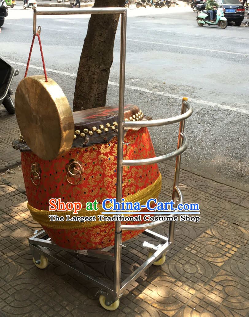 Traditional Lion Dance Drum Cart and Gong Stand Set