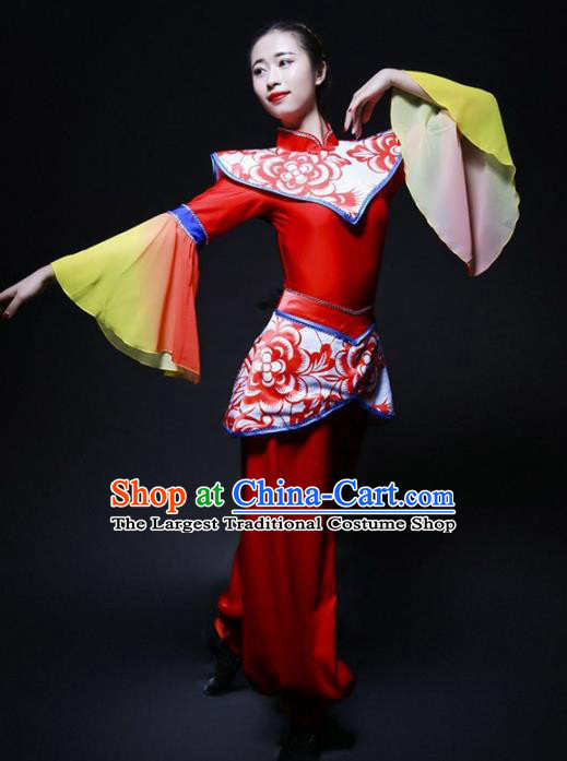 Chinese Folk Dance Yangko Stage Performance Costume Traditional Drum Dance Red Clothing for Women