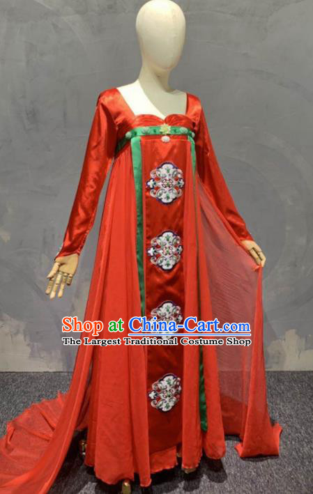 Chinese Classical Dance Stage Performance Costume Traditional Peri Dance Red Dress for Women