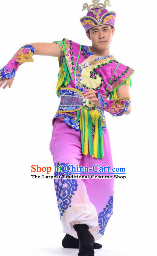 b34e14240 Chinese Mongol Nationality Ethnic Purple Costume Traditional Minority Folk  Dance Stage Performance Clothing for Men
