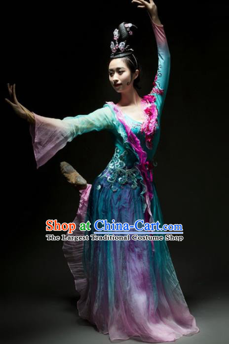 Chinese Classical Dance Lotus Dance Green Dress Traditional Umbrella Dance Stage Performance Costume for Women