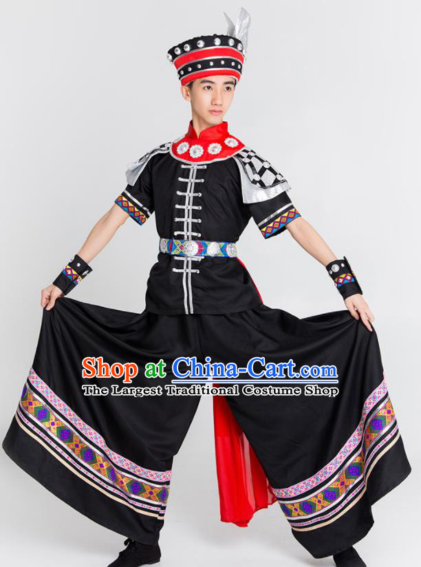 Chinese Yi Nationality Stage Performance Ethnic Costume Traditional Minority Black Clothing for Men