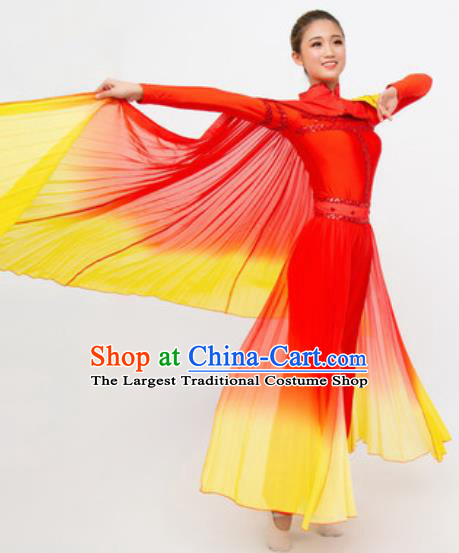 Chinese Traditional Yangko Stage Performance Costume Folk Dance Drum Dance Red Dress for Women