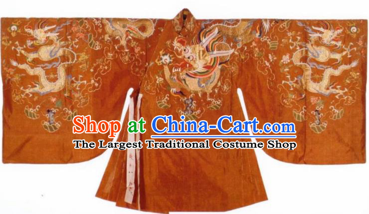 Traditional Chinese Ming Dynasty Wedding Historical Costume Ancient Empress Embroidered Robe for Women