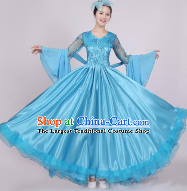 Top Grade Stage Performance Blue Dress Compere Modern Dance Fancywork Modern Costume for Women