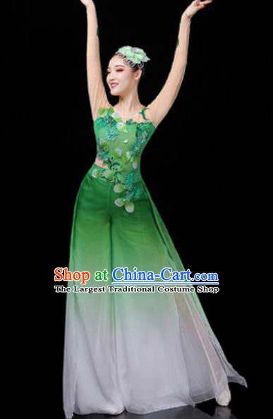 Traditional Chinese Classical Dance Group Dance Green Dress Umbrella Dance Stage Performance Costume for Women