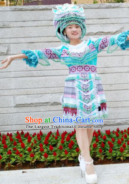 Chinese Traditional Miao Nationality Ethnic Embroidered Costume Minority Folk Dance Blue Short Dress for Women