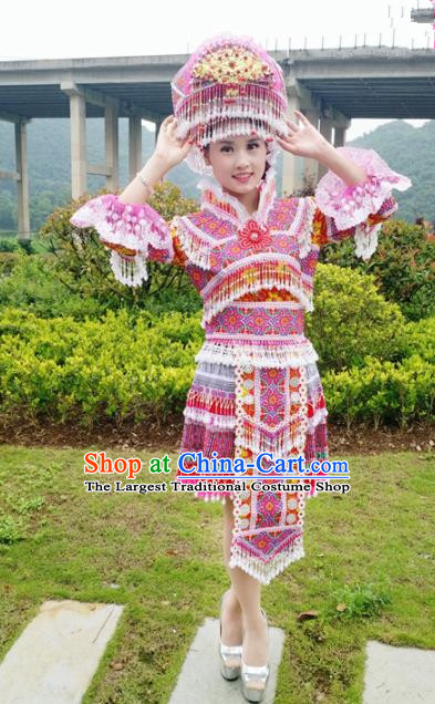 Chinese Traditional Miao Nationality Rosy Short Dress Minority Ethnic Folk Dance Embroidered Costume for Women
