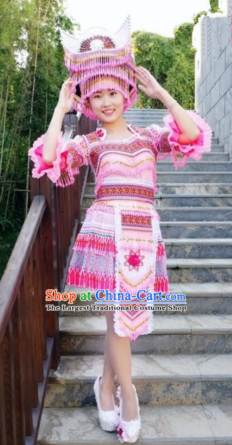 Chinese Traditional Miao Nationality Pink Short Dress Minority Ethnic Folk Dance Embroidered Costume for Women