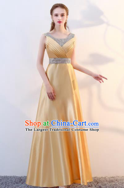 Top Grade Stage Performance Yellow Full Dress Compere Modern Fancywork Modern Dance Costume for Women