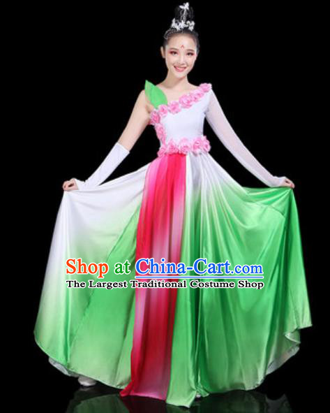 Traditional Chinese Spring Festival Gala Opening Dance Green Dress Modern Dance Stage Performance Costume for Women