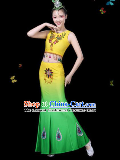 Traditional Chinese Minority Ethnic Peacock Dance Gradient Yellow Dress Dai Nationality Stage Performance Costume for Women