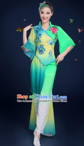 Traditional Chinese Fan Dance Light Green Clothing Folk Dance Yangko Stage Performance Costume for Women