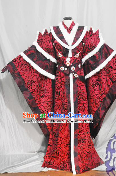 Traditional Chinese Han Dynasty Queen Red Hanfu Dress Ancient Empress Embroidered Costume for Women