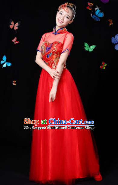 Chinese Traditional Classical Dance Red Veil Dress Umbrella Dance Group Dance Stage Performance Costume for Women