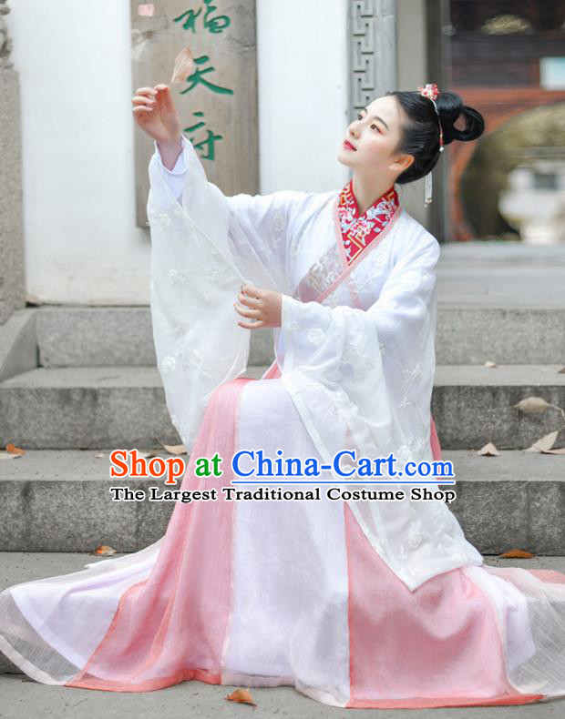 Chinese Ancient Royal Princess Embroidered Pink Hanfu Dress Traditional Jin Dynasty Court Historical Costume for Women