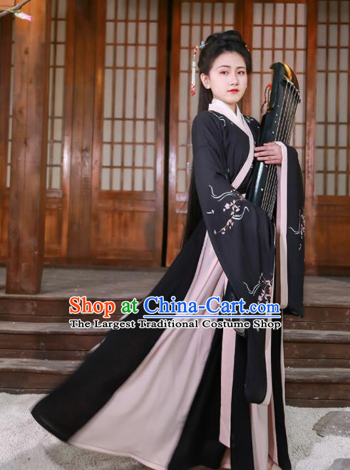 Chinese Jin Dynasty Court Maid Black Hanfu Dress Traditional Ancient Princess Historical Costume for Women