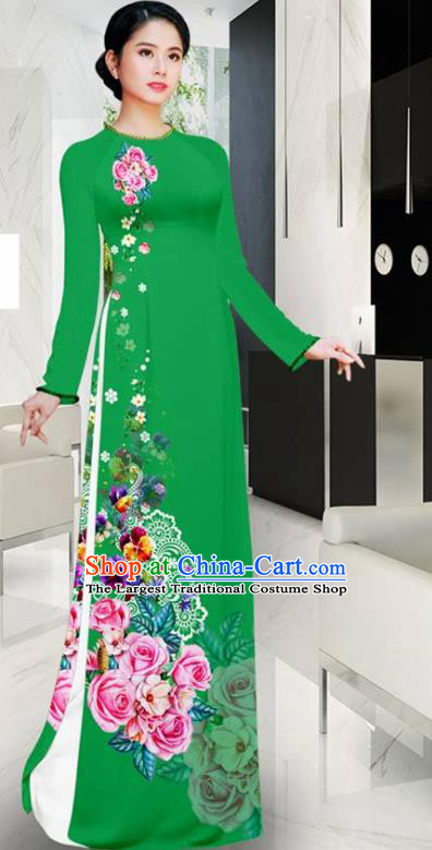 Asian Vietnam Printing Roses Green Aodai Cheongsam Traditional Costume Vietnamese Bride Classical Qipao Dress for Women