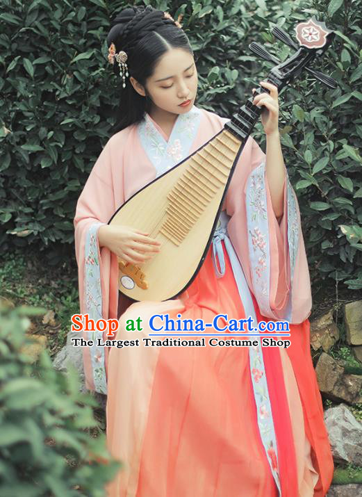 Chinese Traditional Jin Dynasty Princess Historical Costume Ancient Peri Embroidered Hanfu Dress for Women