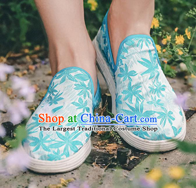 Chinese Handmade Printing Blue Lotus Cloth Shoes Traditional National Shoes Ancient Hanfu Shoes for Women