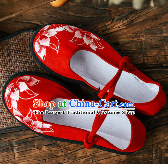 Chinese Handmade Red Cloth Shoes Traditional National Shoes Ancient Princess Embroidered Lotus Hanfu Shoes for Women