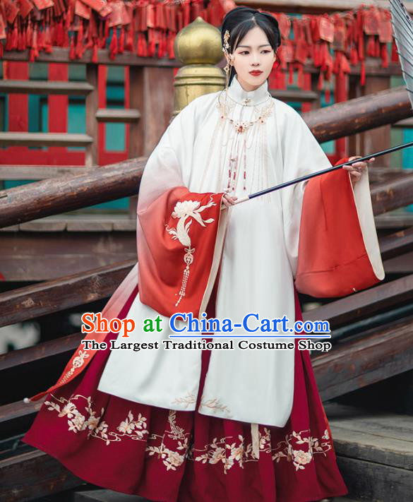 Chinese Traditional Ming Dynasty Imperial Consort Embroidered Hanfu Dress Ancient Palace Lady Historical Costume for Women