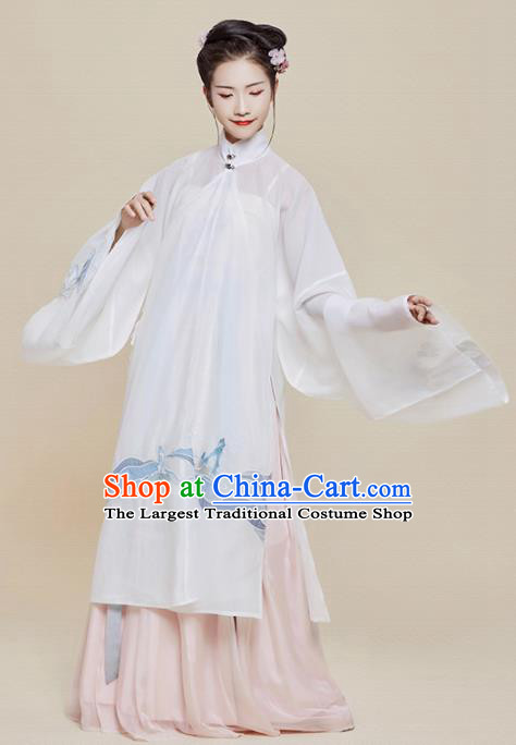 Chinese Traditional Ancient Nobility Dowager Embroidered Hanfu Dress Ming Dynasty Imperial Consort Historical Costume for Women