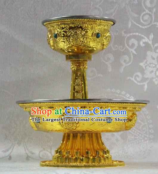 Chinese Traditional Buddhism Brass Cup Tray Feng Shui Items Vajrayana Buddhist Teaboard Decoration