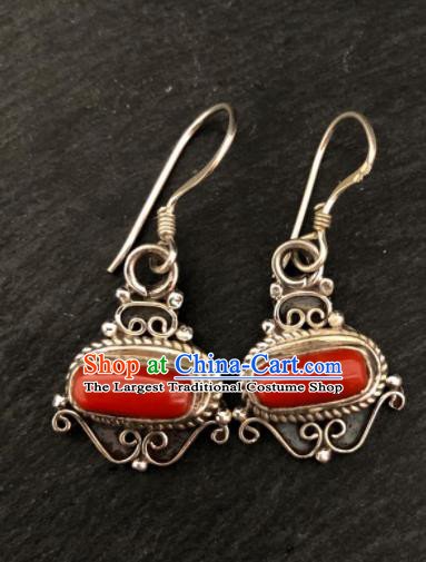 Traditional Chinese Mongol Nationality Red Stone Ear Accessories Mongolian Ethnic Sliver Earrings for Women