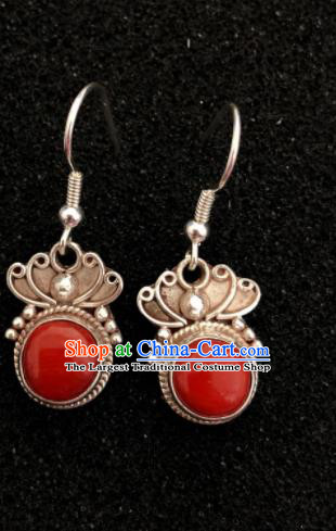 Traditional Chinese Mongol Nationality Ear Accessories Mongolian Ethnic Red Stone Earrings for Women