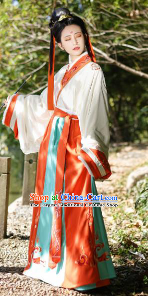 Chinese Ancient Jin Dynasty Court Maid Dress Traditional Hanfu Clothing Princess Historical Costume for Women