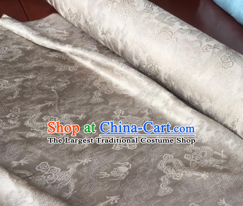 Silver Classic Royal 100% Pure Silk Round Dragon Pattern Fabric Chinese Traditional Silk Fabrics