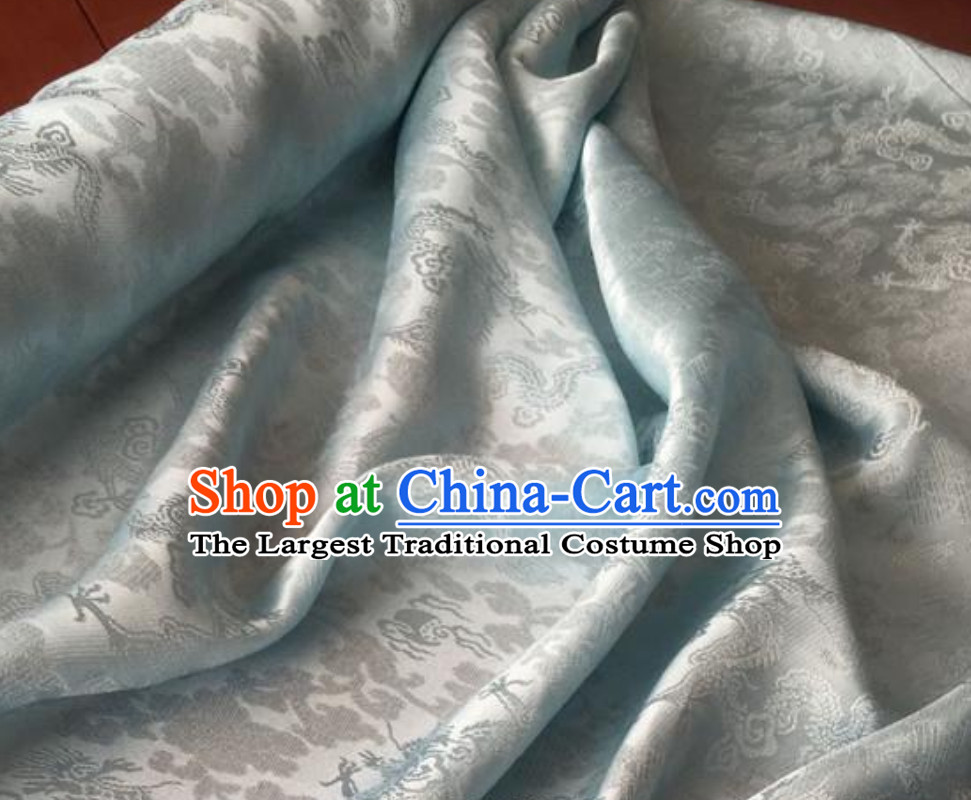 Classic Royal 100% Pure Silk Round Dragon Pattern Fabric Chinese Traditional Silk Fabrics