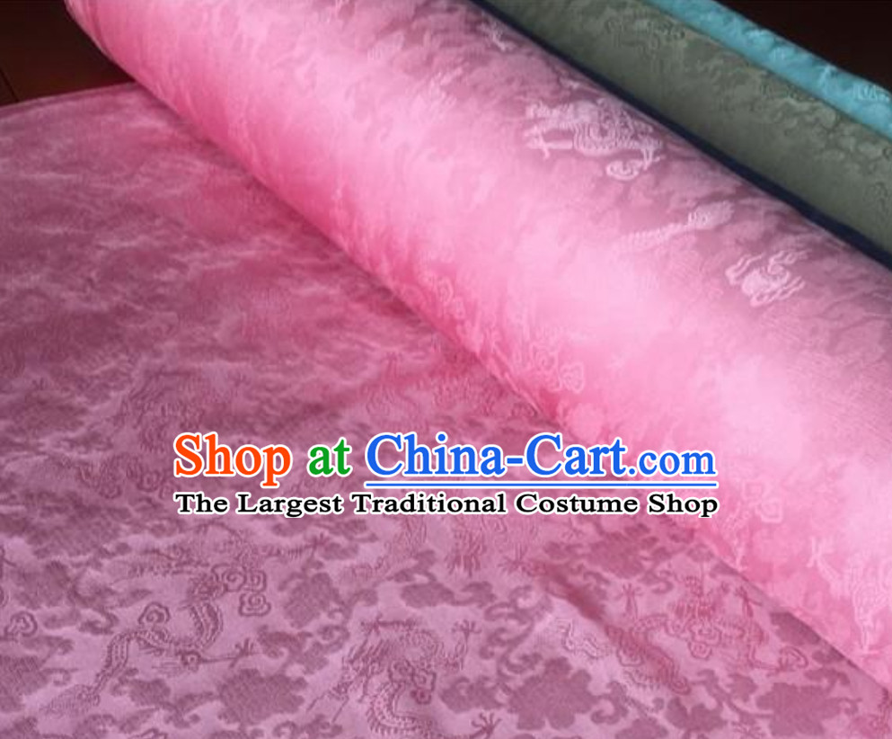 Pink Classic Royal 100% Pure Silk Round Dragon Pattern Fabric Chinese Traditional Silk Fabrics