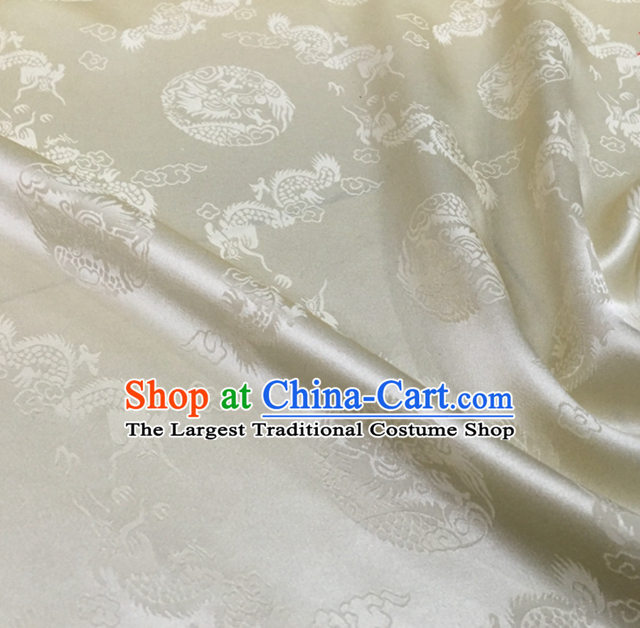 Beautiful Classic Royal 100% Pure Silk Round Dragon Pattern Fabric Chinese Traditional Silk Fabrics