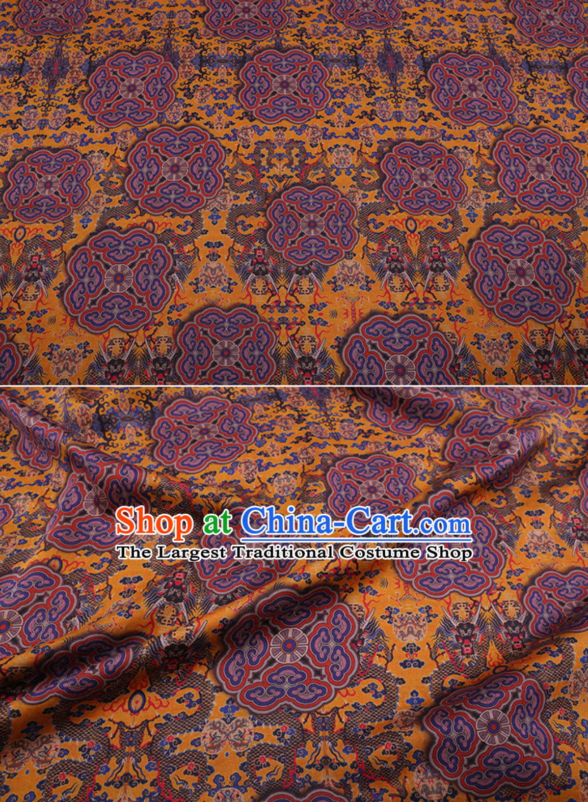 Palace Classic Royal 100% Pure Silk Round Dragon Pattern Fabric Chinese Traditional Silk Fabrics