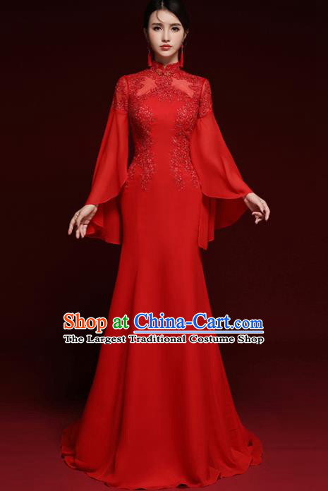 Girl Chinese Dress Qipao Mandarin Gown Party Cheongsam Peacock Peony Red
