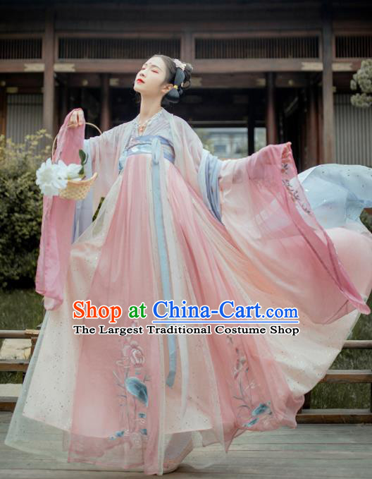 Chinese Traditional Ancient Celestial Princess Embroidered Hanfu Dress Tang Dynasty Court Lady Historical Costume for Women