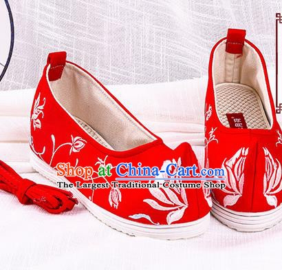 Chinese Traditional Hanfu Cloth Shoes Embroidered Orchid Red Shoes Handmade Ancient Princess Shoes for Women