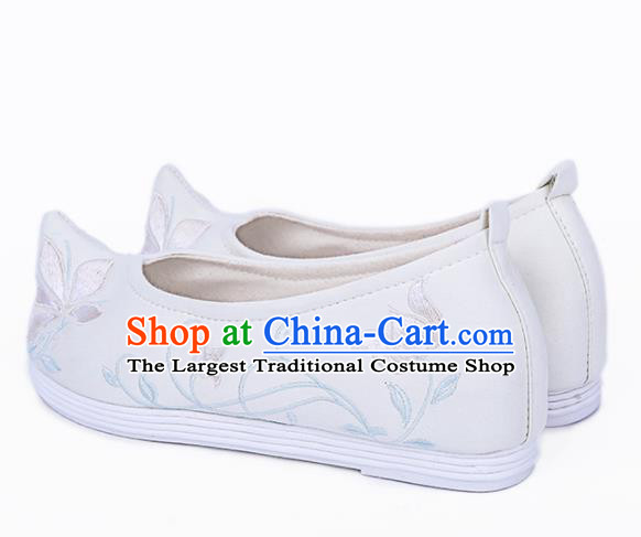 Chinese Traditional Embroidered Twine Lotus White Shoes Hanfu Cloth Shoes Handmade Ancient Princess Shoes for Women