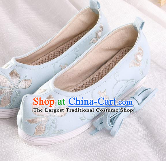 Chinese Traditional Embroidered Twine Lotus Blue Shoes Hanfu Cloth Shoes Handmade Ancient Princess Shoes for Women