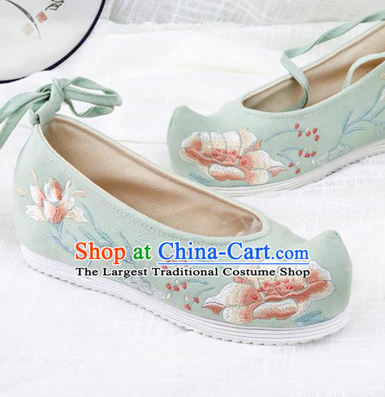 Chinese Traditional Green Embroidered Peony Shoes Hanfu Cloth Shoes Handmade Ancient Princess Shoes for Women