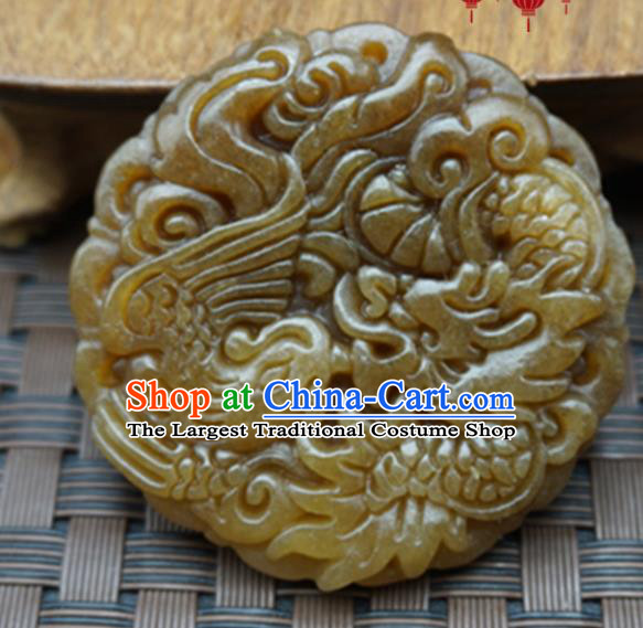 Chinese Handmade Jade Craft Carving Dragon Phoenix Jewelry Accessories Jade Necklace Pendant
