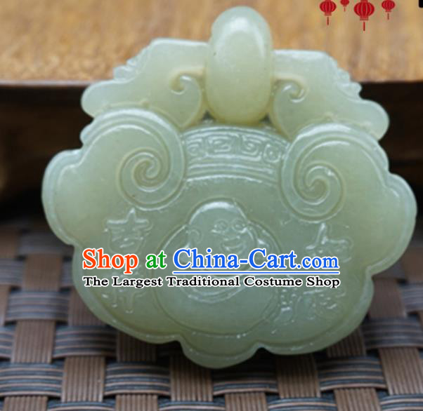 Chinese Handmade Jade Craft Carving Longevity Lock Jewelry Accessories Jade Necklace Pendant