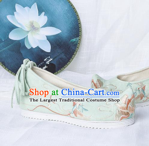 Chinese Traditional Embroidered Phoenix Peony Green Shoes Hanfu Cloth Shoes Handmade Ancient Princess Shoes for Women